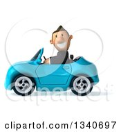 Clipart Of A 3d Happy Short White Businessman Driving A Blue Convertible Car Royalty Free Illustration by Julos