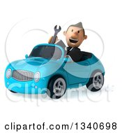 Clipart Of A 3d Happy Short White Businessman Holding A Wrench And Driving A Blue Convertible Car Royalty Free Illustration by Julos