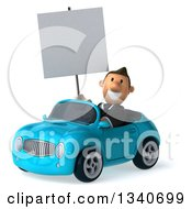 Clipart Of A 3d Happy Short White Businessman Holding A Blank Sign And Driving A Blue Convertible Car Royalty Free Illustration by Julos