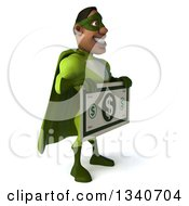 Clipart Of A 3d Buff Male Black Super Hero In Green Facing Slightly Right Holding A Giant Dollar Bill Royalty Free Illustration by Julos