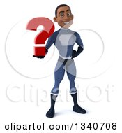 Clipart Of A 3d Young Black Male Super Hero Dark Blue Suit Holding A Question Mark Royalty Free Illustration