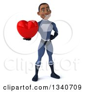 Clipart Of A 3d Young Black Male Super Hero Dark Blue Suit Holding A Red Love Heart Royalty Free Illustration