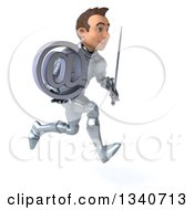 Clipart Of A 3d Caucasian Male Armored Knight Holding An Email Arobase At Symbol And Sword Sprinting To The Right Royalty Free Illustration