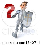 Clipart Of A 3d Caucasian Male Armored Knight Holding A Question Mark And Shield Speed Walking Royalty Free Illustration