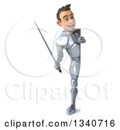 Clipart Of A 3d Full Length Caucasian Male Armored Knight Holding A Sword And Looking Around A Sign Royalty Free Illustration