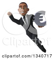 Clipart Of A 3d Young Black Businessman Flying With A Euro Currency Symbol Royalty Free Illustration