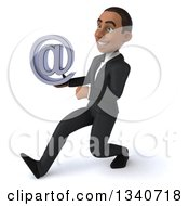 Clipart Of A 3d Young Black Businessman Holding An Email Arobase At Symbol And Speed Walking To The Left Royalty Free Illustration