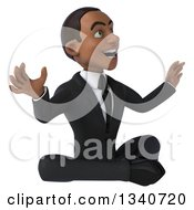 Clipart Of A 3d Surprised Young Black Businessman Meditating On The Floor Royalty Free Illustration