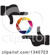 Clipart Of A Pair Of Hands Making A Frame Around A Colorful Shutter Camera Lens Royalty Free Vector Illustration by ColorMagic
