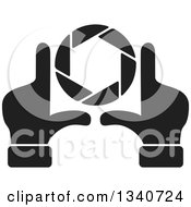 Clipart Of A Pair Of Black And White Hands Making A Frame Around A Colorful Shutter Camera Lens Royalty Free Vector Illustration by ColorMagic