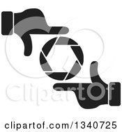 Clipart Of A Pair Of Black And White Hands Making A Frame Around A Colorful Shutter Camera Lens 2 Royalty Free Vector Illustration by ColorMagic