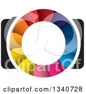 Clipart Of A Camera With A Colorful Shutter Lens 3 Royalty Free Vector Illustration by ColorMagic