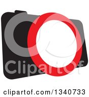 Clipart Of A Black Camera With A Red And White Lens Royalty Free Vector Illustration by ColorMagic