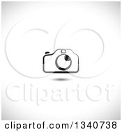 Clipart Of A Black And White Camera Over Shading Royalty Free Vector Illustration by ColorMagic