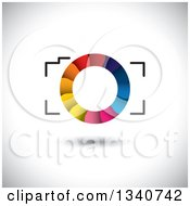 Clipart Of A Floating Camera With A Colorful Shutter Lens On Shading Royalty Free Vector Illustration by ColorMagic