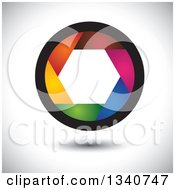 Clipart Of A Colorful Camera Shutter Lens Over Shading Royalty Free Vector Illustration by ColorMagic