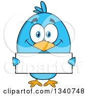 Cartoon Blue Bird Holding A Blank Sign by Hit Toon