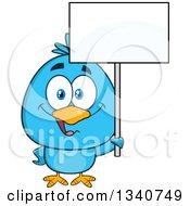 Cartoon Blue Bird Holding Up A Blank Sign by Hit Toon