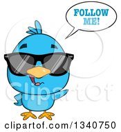 Clipart Of A Cartoon Blue Bird Wearing Sunglasses And Saying Follow Me Royalty Free Vector Illustration