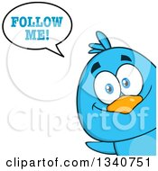 Clipart Of A Cartoon Blue Bird Looking Around A Sign And Saying Follow Me Royalty Free Vector Illustration