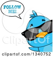 Clipart Of A Cartoon Blue Bird Wearing Sunglasses Looking Around A Sign And Saying Follow Me Royalty Free Vector Illustration