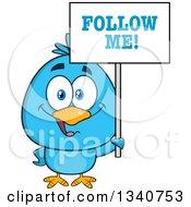 Clipart Of A Cartoon Blue Bird Holding A Follow Me Sign 2 Royalty Free Vector Illustration