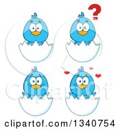Clipart Of Cartoon Blue Birds In Egg Shells Royalty Free Vector Illustration by Hit Toon