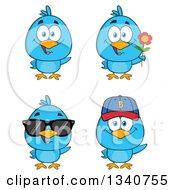 Clipart Of Cartoon Blue Birds Royalty Free Vector Illustration