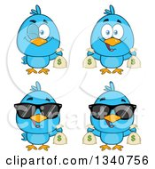 Clipart Of Cartoon Blue Birds With Money Bags Royalty Free Vector Illustration