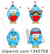 Clipart Of Cartoon Blue Birds 2 Royalty Free Vector Illustration by Hit Toon