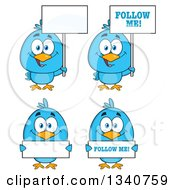 Clipart Of Cartoon Blue Birds Holding Signs Royalty Free Vector Illustration by Hit Toon