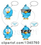 Clipart Of Cartoon Blue Birds Talking Royalty Free Vector Illustration by Hit Toon