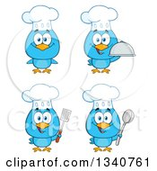 Clipart Of Cartoon Blue Bird Chefs Royalty Free Vector Illustration by Hit Toon