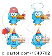Clipart Of Cartoon Blue Birds Holding Fast Foods And Cakes Royalty Free Vector Illustration by Hit Toon