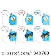 Clipart Of Cartoon Blue Birds Looking Around Signs And Talking Royalty Free Vector Illustration by Hit Toon