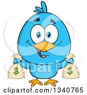 Clipart Of A Cartoon Blue Bird Holding Money Bags Royalty Free Vector Illustration by Hit Toon