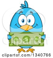 Clipart Of A Cartoon Blue Bird Holding A Dollar Bill Royalty Free Vector Illustration by Hit Toon