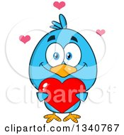 Clipart Of A Cartoon Blue Bird Holding A Red Love Heart Royalty Free Vector Illustration by Hit Toon