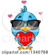 Clipart Of A Cartoon Blue Bird Wearing Sunglasses And Holding A Red Love Heart Royalty Free Vector Illustration by Hit Toon