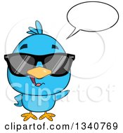 Clipart Of A Cartoon Blue Bird Wearing Sunglasses Talking And Waving Royalty Free Vector Illustration by Hit Toon