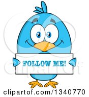 Clipart Of A Cartoon Blue Bird Holding A Follow Me Sign Royalty Free Vector Illustration by Hit Toon