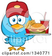 Clipart Of A Cartoon Blue Bird Wearing A Baseball Cap And Holding A Fast Food Tray Royalty Free Vector Illustration by Hit Toon