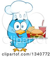 Clipart Of A Cartoon Blue Bird Chef Holding A Fast Food Tray Royalty Free Vector Illustration by Hit Toon