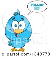 Clipart Of A Cartoon Blue Bird Saying Follow Me Royalty Free Vector Illustration by Hit Toon