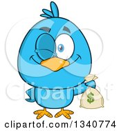 Clipart Of A Cartoon Blue Bird Winking And Holding A Money Bag Royalty Free Vector Illustration by Hit Toon