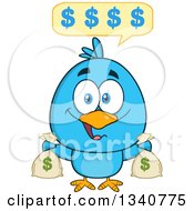 Clipart Of A Cartoon Blue Bird Holding Money Bags And Talking Royalty Free Vector Illustration by Hit Toon