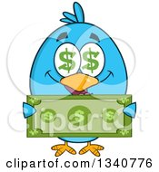 Clipart Of A Cartoon Blue Bird With Dollar Symbol Eyes Holding Cash Money Royalty Free Vector Illustration by Hit Toon