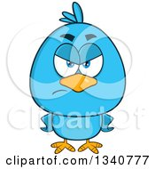 Clipart Of A Cartoon Blue Bird Looking Angry With Hands On His Hips Royalty Free Vector Illustration by Hit Toon