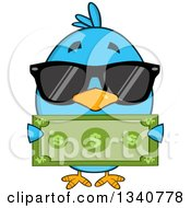 Clipart Of A Cartoon Blue Bird Wearing Sunglasses And Holding A Dollar Bill Royalty Free Vector Illustration by Hit Toon