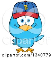 Clipart Of A Cartoon Blue Bird Wearing A Baseball Cap And Waving Royalty Free Vector Illustration by Hit Toon